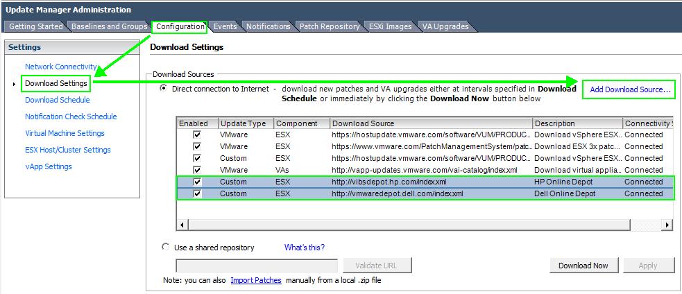 VUM-Download-Settings