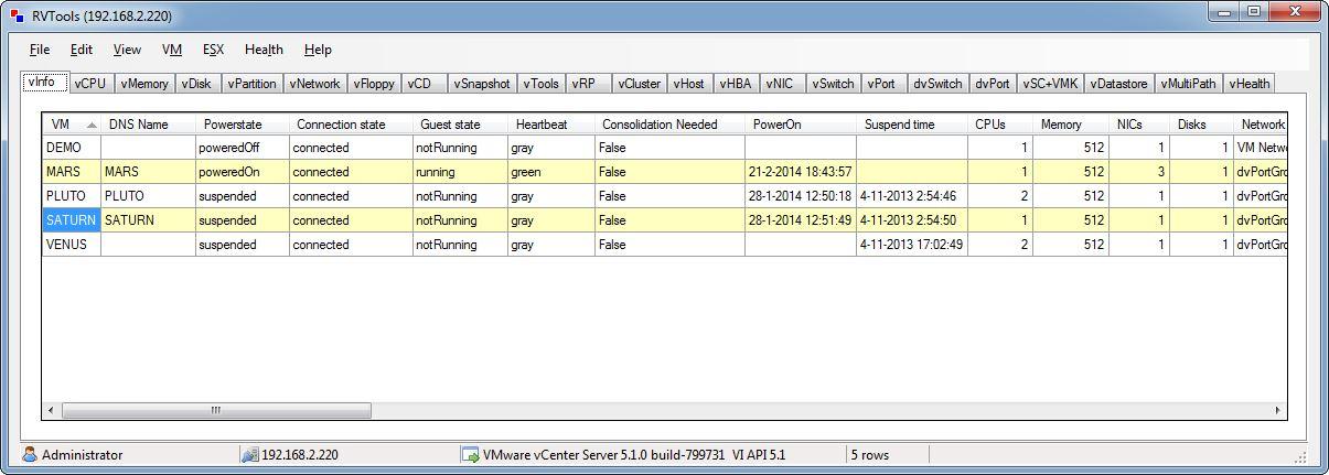 RVTools 3.6 (February, 2014)